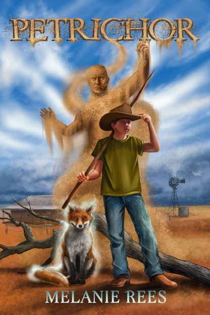 Petrichor Book Cover - A young boy with a glowing fox, and a demon made of dust